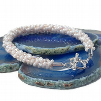 Crystal & White Beaded Kumihimo Bracelet