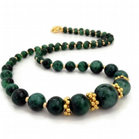 SALE - Gold Plated Green Quartz Necklace