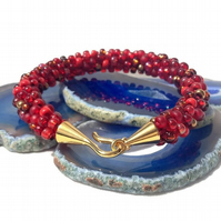 Shades of Red Beaded Kumihimo Bracelet