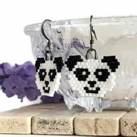 Gunmetal Plated Beaded Panda Earrings