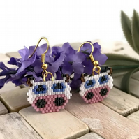 Gold Plated Beaded Ceylon Cow Earrings