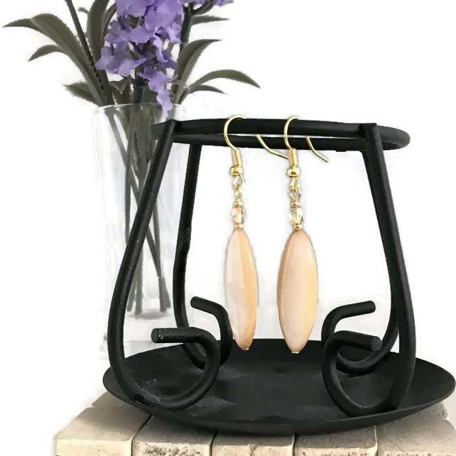 Gold Plated Shell Marquise Earrings