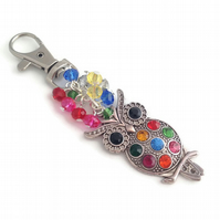 Colourful Owl Bag Charm