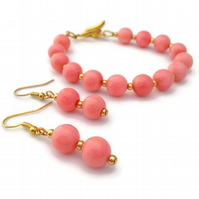 Pink Coral Bracelet and Earring set