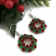 Red & Green Christmas Wreath Earrings