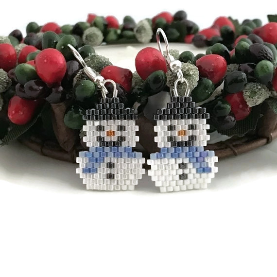 Snowmen Earrings with Blue Scarves