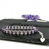 Metallic Purple and Silver Crescent Bead Bracelet
