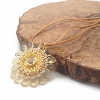 SALE - Yellow Flower Pendant Necklace