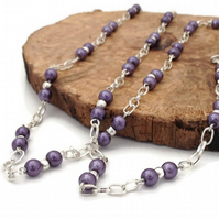 SALE - Purple and Silver Plated Chain Long Necklace