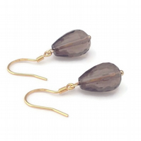 Gold Plated Sterling Silver Smokey Quartz Drop Earrings