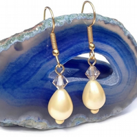 Golden Yellow Shell Pearl Earrings