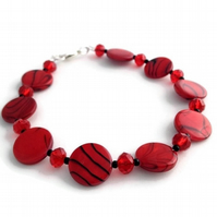 SALE - Red Banded Shell Bracelet