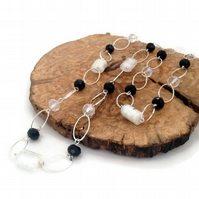 SALE - Black & White Over The Head Necklace