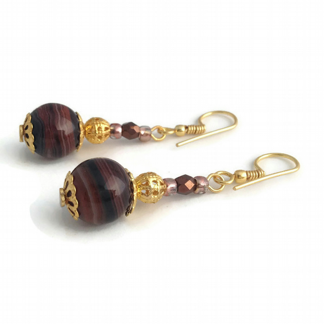 Brown Banded Agate Earrings