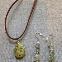 Mineral Stone Oval Pendant on Brown Leather Necklace & Sea Glass Earrings
