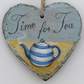 Hand Illustrated Slate Heart - 'Time for Tea'