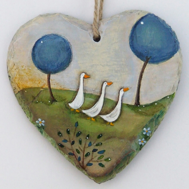 Hand Illustrated Slate Heart - 'The Waddle Home'