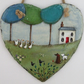 Large Hand Illustrated Slate Heart - 'Here Come the Girls'