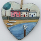 Hand Illustrated Slate Heart - 'Pink House Cove'