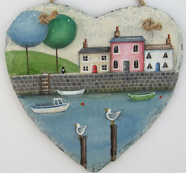 Large Hand Illustrated Slate Heart - Sea Wall Way'