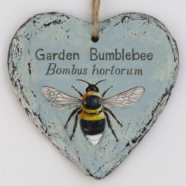 Hand Illustrated Slate Heart - 'Garden Bumblebee'