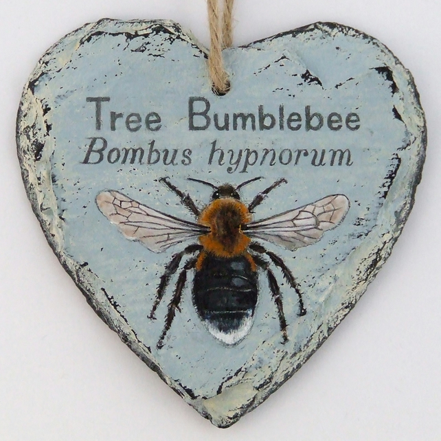 Hand Illustrated Slate Heart - 'Tree Bumblebee'
