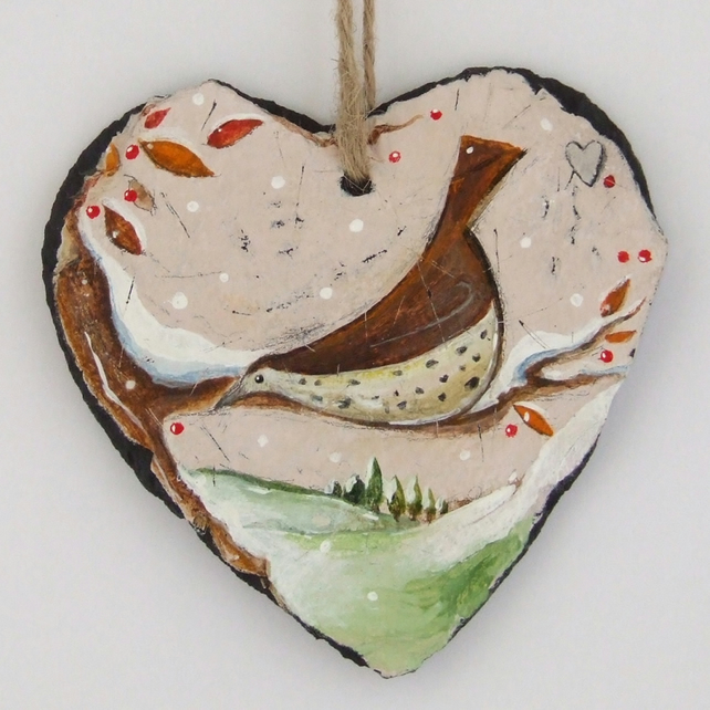 A Winter Feast - Hand Illustrated Slate Heart