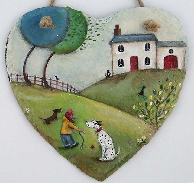 A Breezy Walk with Wordsworth and Dickens - Large Hand Illustrated Slate Heart