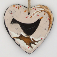 Blackbird and the Christmas Berries  - Hand Illustrated Slate Heart
