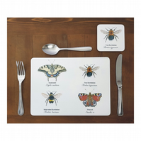 Bumblebee & Butterfly Place mats - (Set of 4)