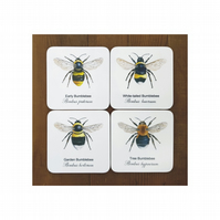 Bumblebee Coasters - (Set of 4)