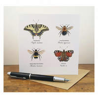 Bumblebees and Butterflies - Greeting Card