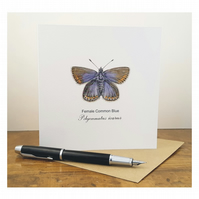 Female Common Blue Butterfly - Greeting Card