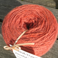 Hand-dyed Jacob & Alpaca Double Knitting Wool Peach 100g