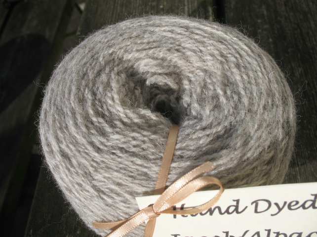 Hand-dyed Jacob & Alpaca Double Knitting Wool Silver 100g