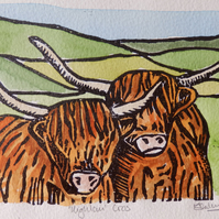 Hand coloured Pair of Highland Cows Lino Print