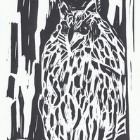 Wise Old Owl Monochrome, Lino Cut Print, Limited Edition