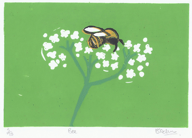 Bee and Flower, Reductive, mounted, Limited Edition, Lino Print