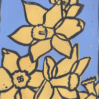 Daffodil, Reductive, Limited Edition, Mounted, Lino Print
