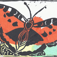 Butterfly, Limited Edition, Mounted, Collage and Lino Print