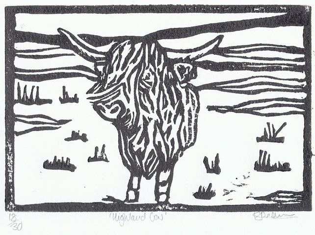 Highland Cow Black and White,  Mounted, Limited Edition Print