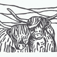 Pair of Highland Cows Lino Print