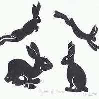 Square of Hares, Limited Edition, Mounted, Lino Print
