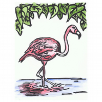 Flamingo Original Lino Print finished with watercolour