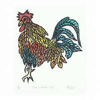 Cockerel Rooster Lino Print, Hand Coloured, Mounted and Signed Limited Edition