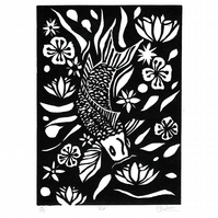 Koi limited edition, lino print