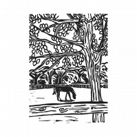 Horse in Field, limited edition, Linoprint by Kirstie Dedman