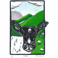 Sheep! limited edition, linocut print, animal art