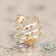 Chunky Spiral Sterling Silver with Gold