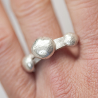 Sterling silver ring with irregular circular shapes